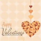 Сердце карточки полигональной валентинки Стоковое Изображение