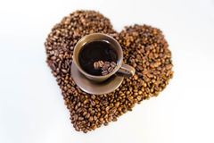Сердце кофейных зерен Стоковые Фотографии RF