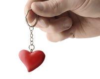 Сердце кольца для ключей Стоковая Фотография