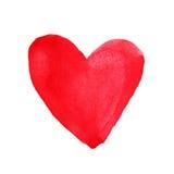 Сердце красного цвета акварели иллюстрация элементов конструкции выходит вектор Стоковые Изображения RF