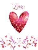 Сердце красного цвета акварели Предпосылка влюбленности Стоковые Изображения RF