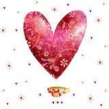 Сердце красного цвета акварели Предпосылка влюбленности Стоковое Фото