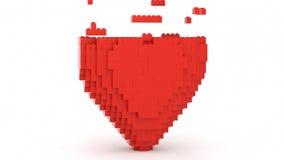 Сердце красного цвета кирпичей игрушки сток-видео
