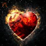 Сердце красного цвета огня Стоковые Изображения RF