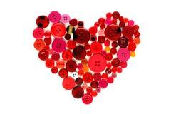 Сердце красных и розовых кнопок Стоковая Фотография