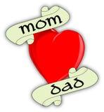 Сердце мамы и папы иллюстрация штока