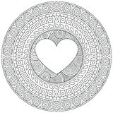 Сердце мандалы на день валентинки декоративный орнамент круглый белизна растра картины dpi поэлементного карты 600 предпосылок иллюстрация штока