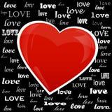 Сердце на предпосылке влюбленности слова Стоковая Фотография