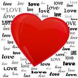 Сердце на предпосылке влюбленности слова Стоковые Изображения RF