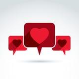 Сердце над речью клокочет значок, вектор схематический Стоковые Фотографии RF
