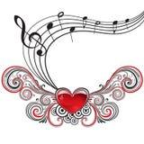 Сердце нот Grunge Стоковая Фотография
