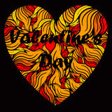 Сердце дня валентинки с спуртами пламени Стоковые Фотографии RF