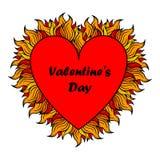 Сердце дня валентинки с спуртами пламени Стоковое Изображение RF