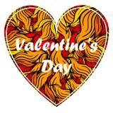 Сердце дня валентинки с спуртами пламени Стоковая Фотография
