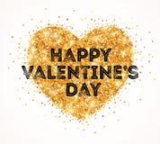 Сердце дня валентинок яркого блеска золота искры бесплатная иллюстрация