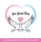 Сердце дня птиц влюбленности розовое & голубое бесплатная иллюстрация