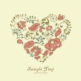 Сердце орнамента вектора цветастые цветки бесплатная иллюстрация