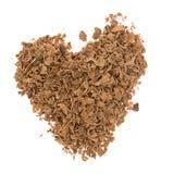 Сердце от заскрежетанного шоколада изолированного на белизне Стоковые Фото