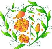 Сердце от зеленых цветов, оранжевые розы, изображение на день ` s валентинки St, зеленые листья, завод вектора, Стоковая Фотография