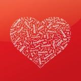 Сердце от имен известной женщины красный цвет поднял () Стоковое фото RF