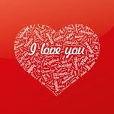 Сердце от имен известной женщины с названием красный цвет поднял () Стоковая Фотография