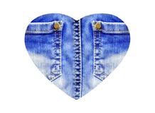 Сердце от крупного плана голубых джинсов, изолированного на белизне Стоковое Изображение RF