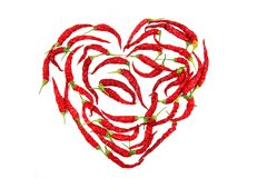 Сердце от перца красных чилей Стоковые Фотографии RF