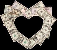 Сердце от черноты долларов Стоковые Изображения RF