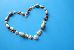 Сердце от seashells на голубой предпосылке на день ` s валентинки Стоковое Фото