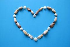 Сердце от seashells на голубой предпосылке на день ` s валентинки Стоковое Изображение RF
