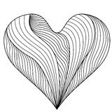 сердце одно Книжка-раскраска для взрослых и более старых детей Картины Doodle Стоковые Изображения RF