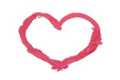 Сердце покрашенное розовое lipstic Стоковые Изображения RF