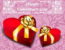 сердце подарка формы коробок связанный вектор Валентайн иллюстрации s 2 сердец дня Стоковое Изображение
