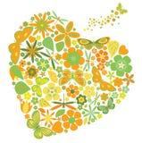 Сердце праздника с цветками и бабочками Стоковая Фотография RF