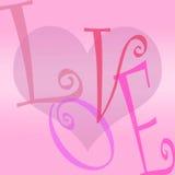 сердце предпосылки помечает буквами влюбленность Стоковая Фотография RF