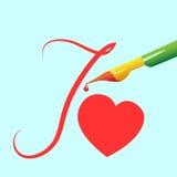Сердце представлено ручкой Стоковые Изображения