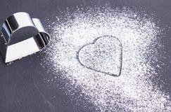Сердце сахара на плите Стоковое Изображение RF