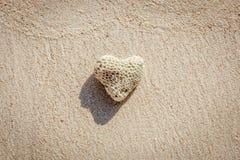 Сердце сформировало коралл на песке, острове Boracay, Филиппинах Стоковые Изображения