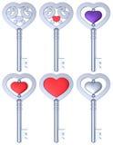 Сердце сформировало ключевой комплект серебра 3D Стоковое Изображение RF