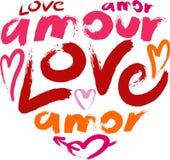 Сердце с влюбленностью слова в много языков Стоковые Изображения