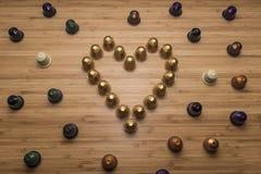 Сердце сделанное капсул кофе Стоковая Фотография