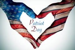 Сердце сделанное по образцу как флаг Соединенных Штатов и текста Patrio Стоковая Фотография RF