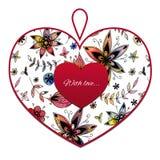 Сердце с картиной цветка Стоковая Фотография RF