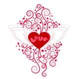 Сердце с крылами с флористическим украшением Стоковые Фотографии RF