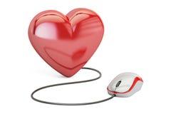 Сердце с мышью компьютера, онлайн концепция датировка перевод 3d бесплатная иллюстрация