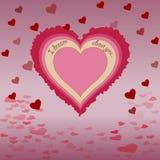 Сердце с надписью, тень, сердца летания предпосылки Стоковая Фотография