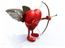 Сердце с оружиями, ногами, крылами, луком и стрелы Стоковые Изображения RF