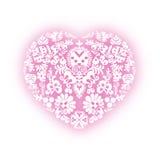 Сердце с флористическими дизайнами Стоковое Фото