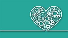 Сердце с шестернями на зеленом цвете иллюстрация вектора