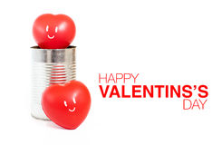 Сердце с эмоцией улыбки в жестяной коробке и счастливом дне валентинки wo Стоковые Изображения